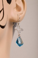 Aquamarine drop style Silver Earrings - Renaissance Revival