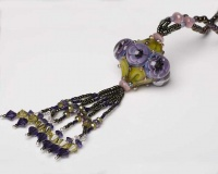 Art Nouveau Inspired Handmade Lampwork Bead Tassel Necklace