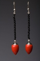 Coral Red Acorn drop Earrings