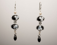 Black and White Victorian Style Dangle Earrings