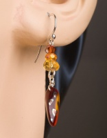 Tin Cup Style Necklace with matching earrings - Honey and Amber - Hand Knotted