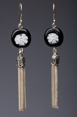Black and White - Silver Tassle Earring