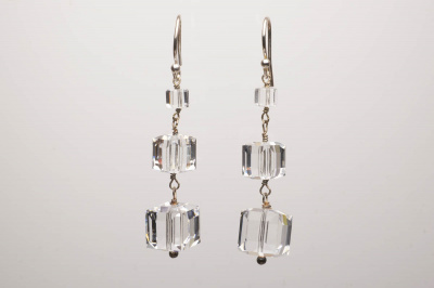 Dainty Crystal Cubes Vintage Style Wedding Dangle Earrings